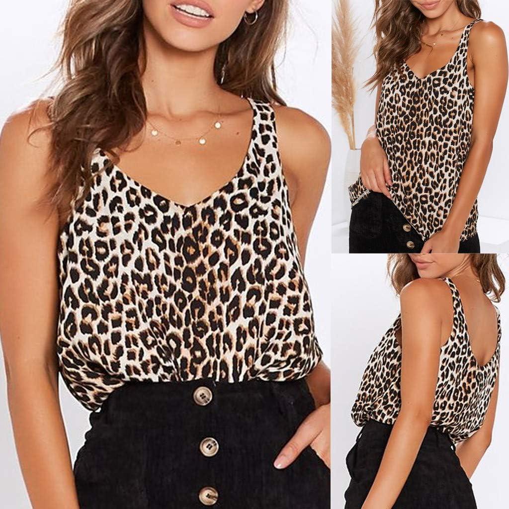 Oksea Leopardenmuster Tops Damen Leoparden Muster Mode l/ässige Leopardenmuster Fashion Women Summer Vest Sleeveless Leopard