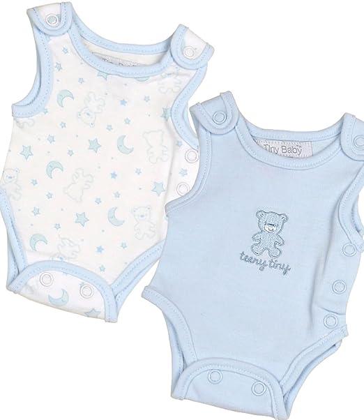 6e530cdaa4f7 Amazon.com  BabyPrem Preemie Pack of 2 Tiny Creepers Baby Boy Cotton ...