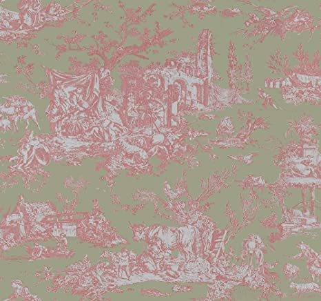 Wallpaper Designer French Country Garden Toile Pale Pink On