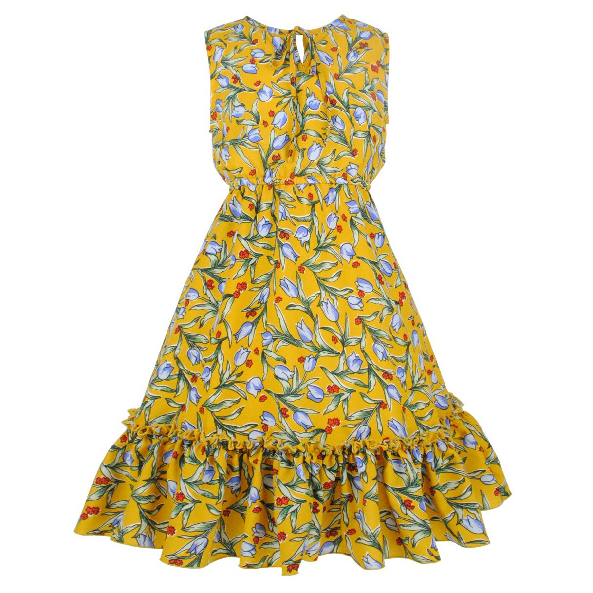 HCABL Girls Floral Dress Summer Sleeveless Beach Sundress Casual Party 3-13T