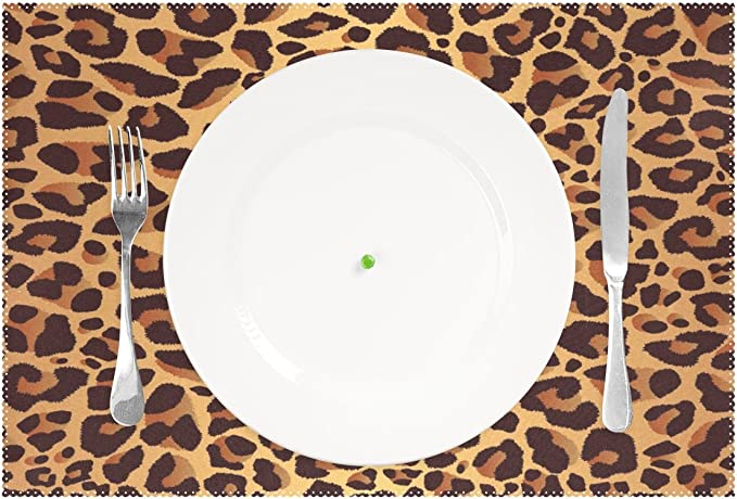 Wozo Bright Leopard Print Placemat Table Mat Animal Fur 12 X 18 Polyester Table Place Mat For Kitchen Dining Room 1 Piece Home Kitchen Amazon Com