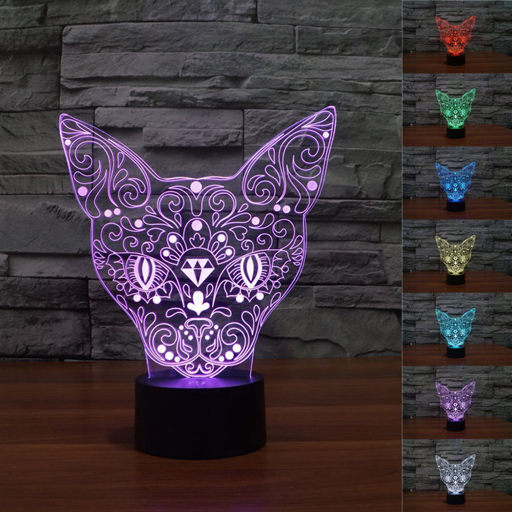 Novelty Cat Lamp, 3D Lights Optical Illusion Nightlight for Kids, YKL World 7 Color Changing Touch Table Lamp Bedroom Decor Lighting, Amazing Birthday Gifts Toys for Boys Lover