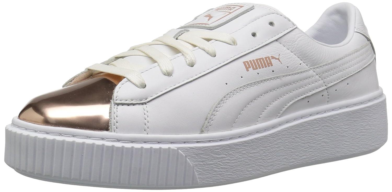 PUMA Women's Basket Platform Metallic, White Rose Gold, 9.5