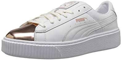 the latest 3ef54 6ae2b PUMA Women's Basket Platform Metallic, Puma White-Rose Gold ...