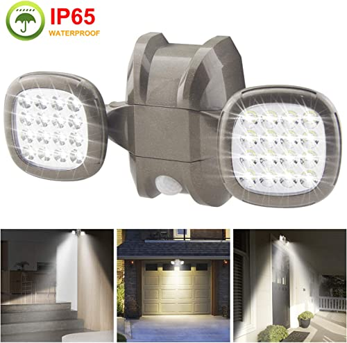 BIGLIGHT Motion Sensor Light Outdoor Battery Operated, IP65 Waterproof Wireless Outdoor Security Flood Light Sensor Auto On Off for Porch, Patio,Stairs Garage, 6000K White, Brown 1Pack