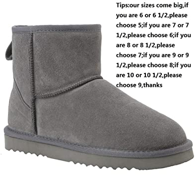 481e25cf5f3 Veilante Snow Boots Waterproof Women Classical Insulated Slip Resistant  Cute Short Ankle Design Mini Cow Suede EVA Sole Lining Warm and Soft Fur ...