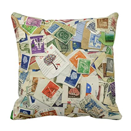 Amazon.com: Emvency Throw Pillow Cover Postage Stamp Collage Travel ...