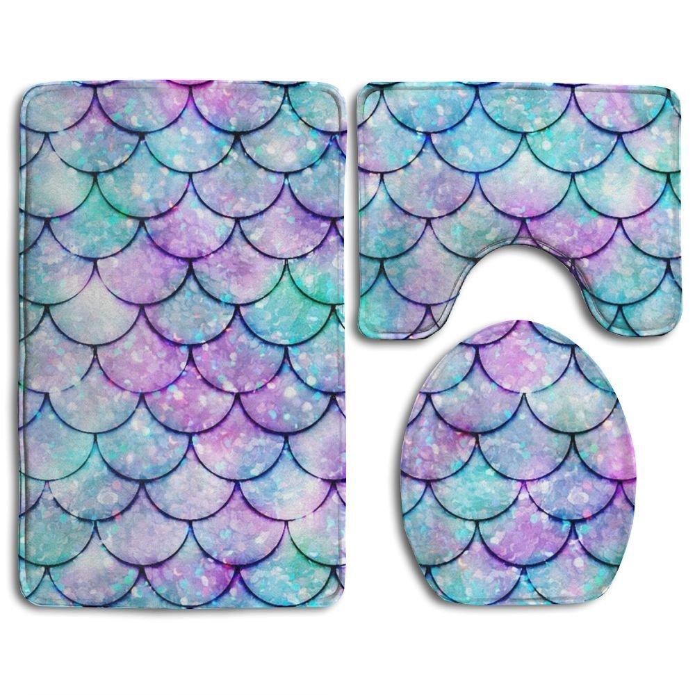 HOMESTORES Beautiful Sparkling Mermaid Scales Bath Mat Bathroom Carpet Rug Washable Non-Slip 3 Piece Bathroom Mat Set by HOMESTORES (Image #1)