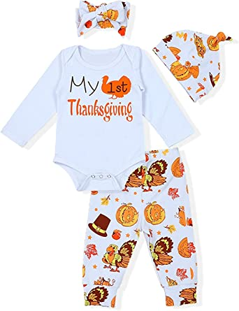 3PCS Infant Baby Girl Boy Thanksgiving Long Sleeve Top Pants Headband Outfit Set