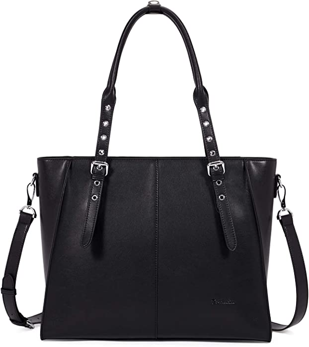BOSTANTEN Leather Briefcase for Women 15.6 inch Laptop Tote Bag Shoulder Handbag Crossbody Work Purse Black