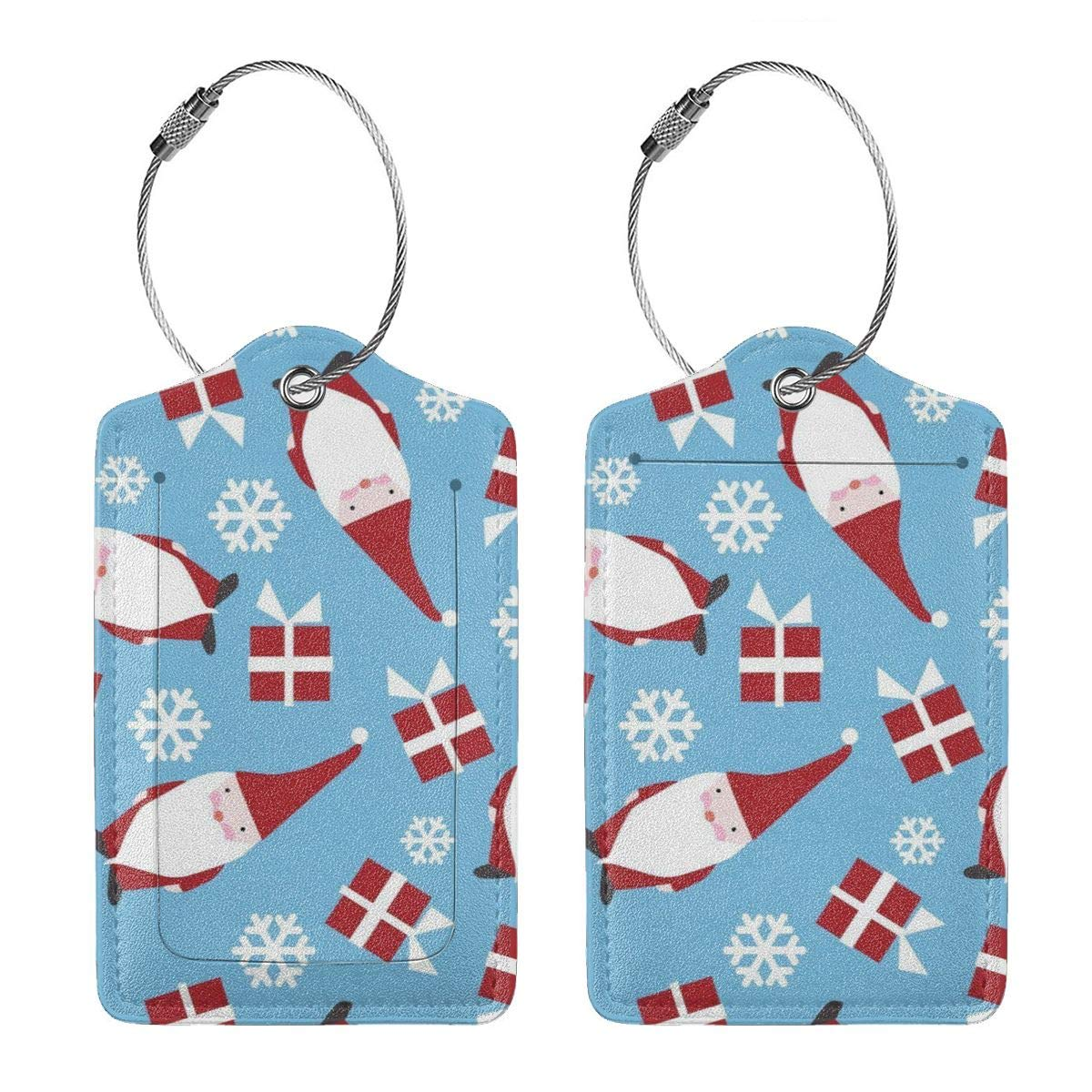 Christmas Holiday Danish Luggage Tag Label Travel Bag Label With Privacy Cover Luggage Tag Leather Personalized Suitcase Tag Travel Accessories
