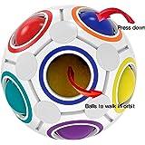 SPLAKS Magic Rainbow Ball, Rubiks Cube Smooth Speed Rainbow Ball Puzzle Brain Teaser Children Brain Training Puzzle Game,Super Durable with Vivid Colors(Cube Rainbow)
