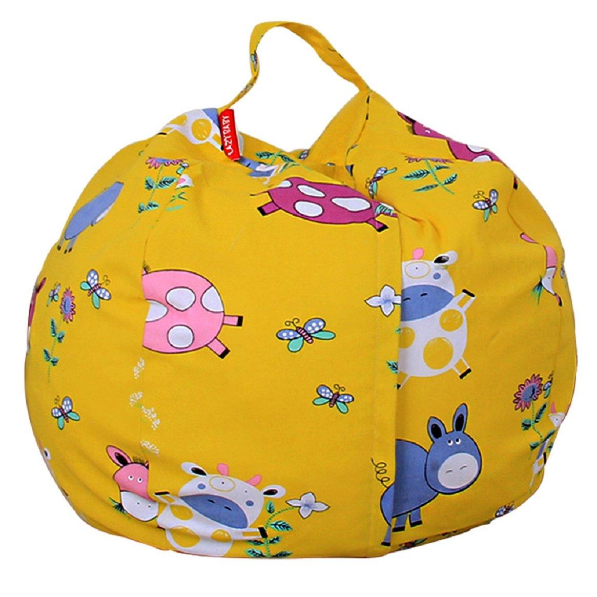 Coerni Stuffed Animal Storage Bean Bag Chair - Cotton Perimeter 55'' (A)