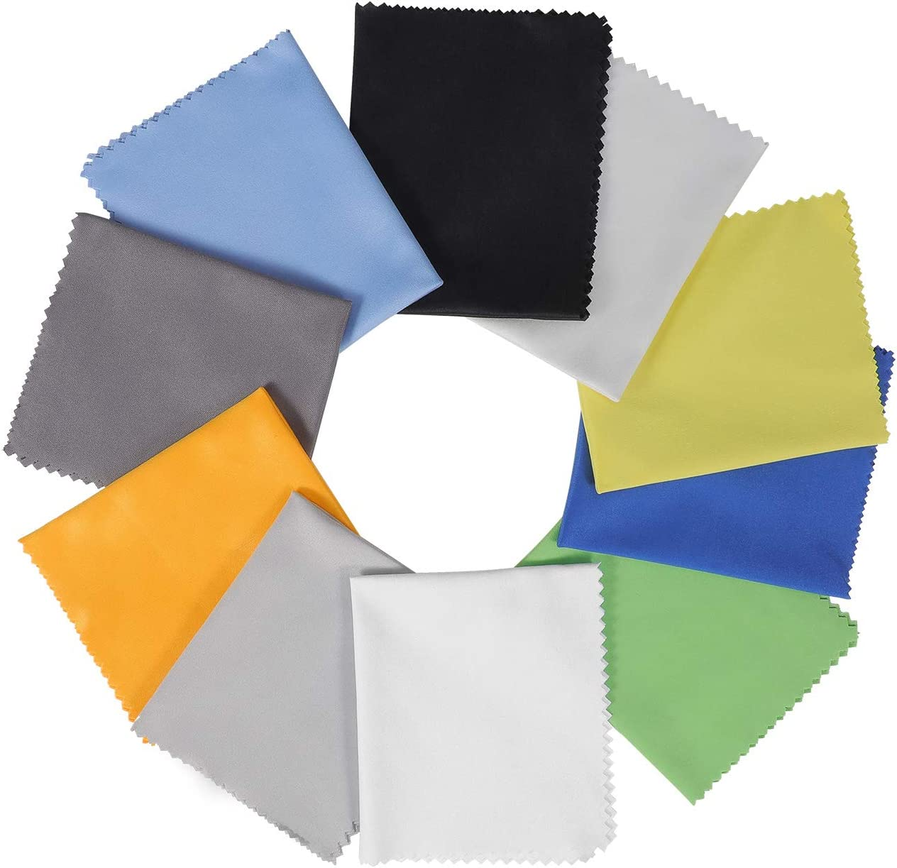 """10 Pack Assorted Colors Microfiber Cleaning Cloths - 6"""" x 7"""" Microfiber Glasses Cloth - Great for Cleaning Eyeglasses, Cell Phones, Screens, Lenses, Glasses, Screens and All Delicate Surface …"""