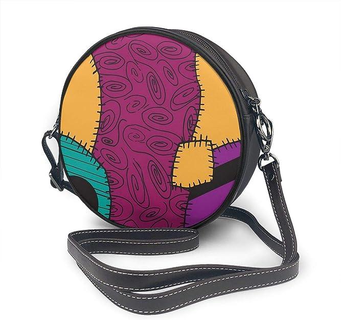 Bolso de mano redondo de piel sintética con cremallera, bolso redondo para mujer, diseño de pesadilla antes de Navidad, personalizado, con patrón de Sally: Amazon.es: Zapatos y complementos