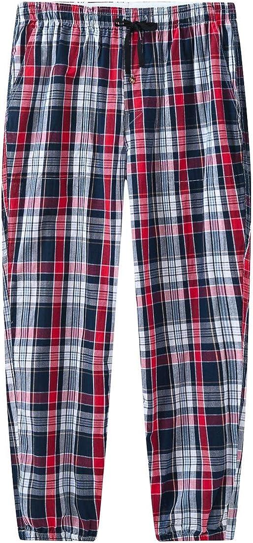 JINSHI Hombre Pijama Pantalones Largos de Algod/ón Pantal/ón de Estar a Cuadros Pack