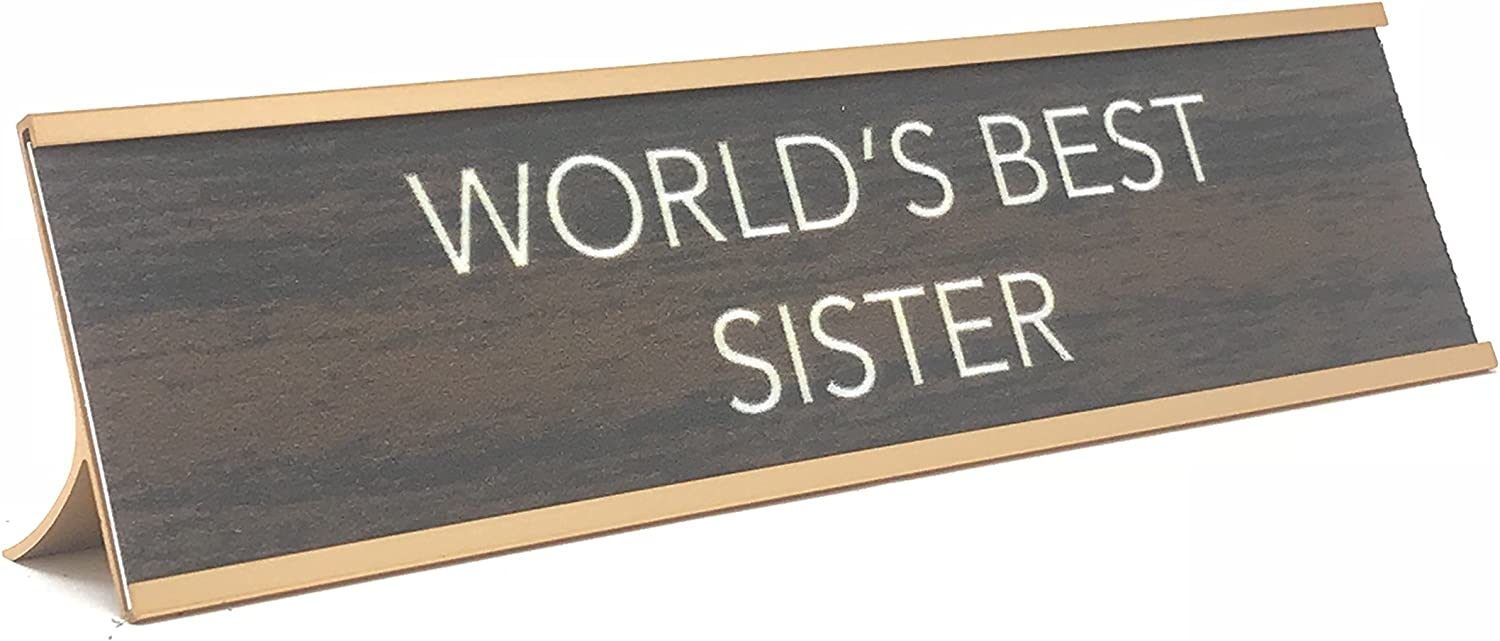 aahs! Engraving Worlds Best Brown//Gold, Worlds Best Brother Novelty Nameplate Style Desk Sign