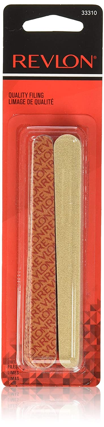 Revlon Compact Emery Boards Nail File, Dual Sided for Shaping and Smoothing Finger and Toenails, 10 Count