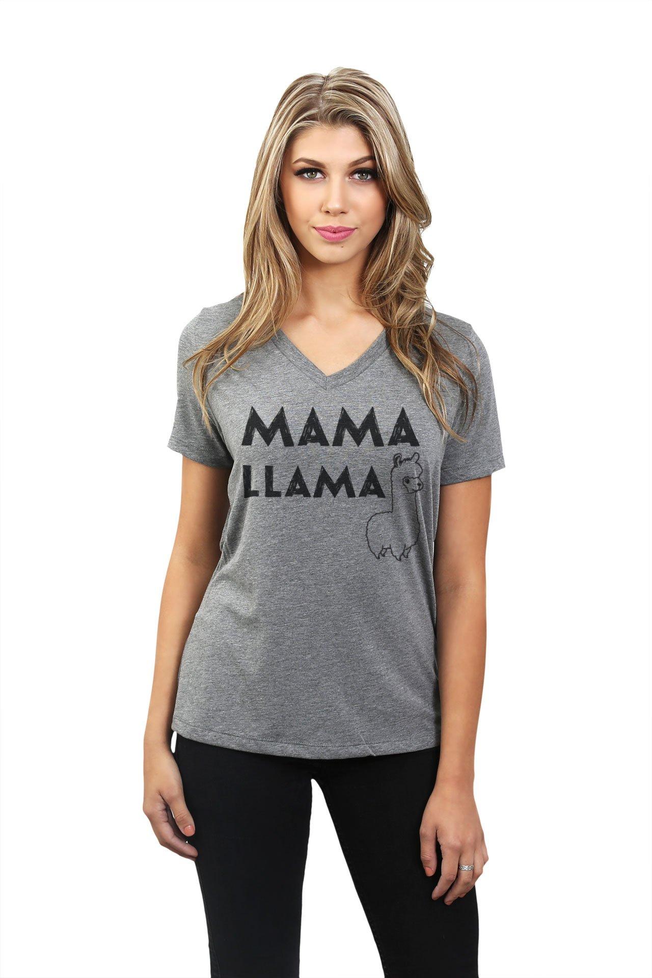 Mama Llama Women's Fashion Relaxed V-Neck T-Shirt Tee Heather Grey X-Large by Thread Tank (Image #2)