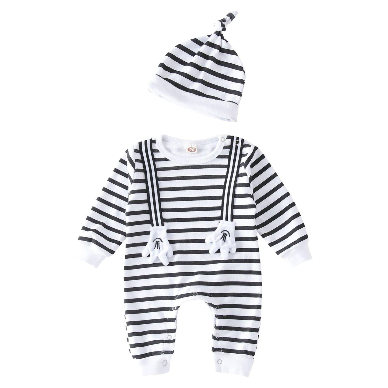 CHIC-CHIC Combinaison + Bonnet Pyjama Vêtement de Suit Ensemble Pull Bébé Garçon Fille Enfants à Manches Longues Souple Rayures