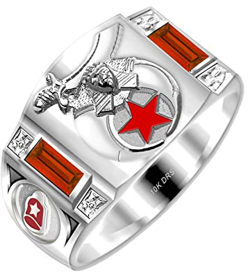 US Jewels And Gems Customizable Men's Solid Back 10k Gold Simulated Ruby  Shriner Masonic Ring