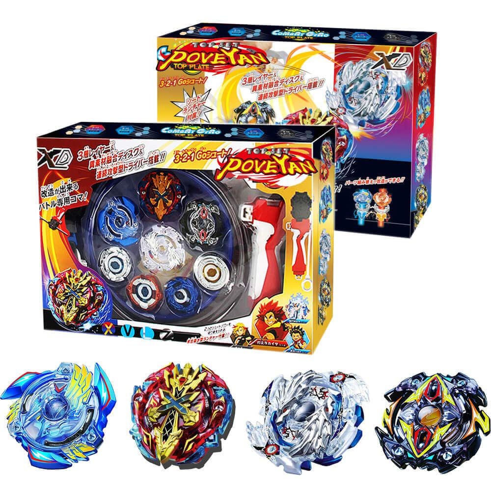 Poveyan Bey Battle Burst Turbo God Evolution Set with Launcher Grip and Stadium Battle Set by Poveyan
