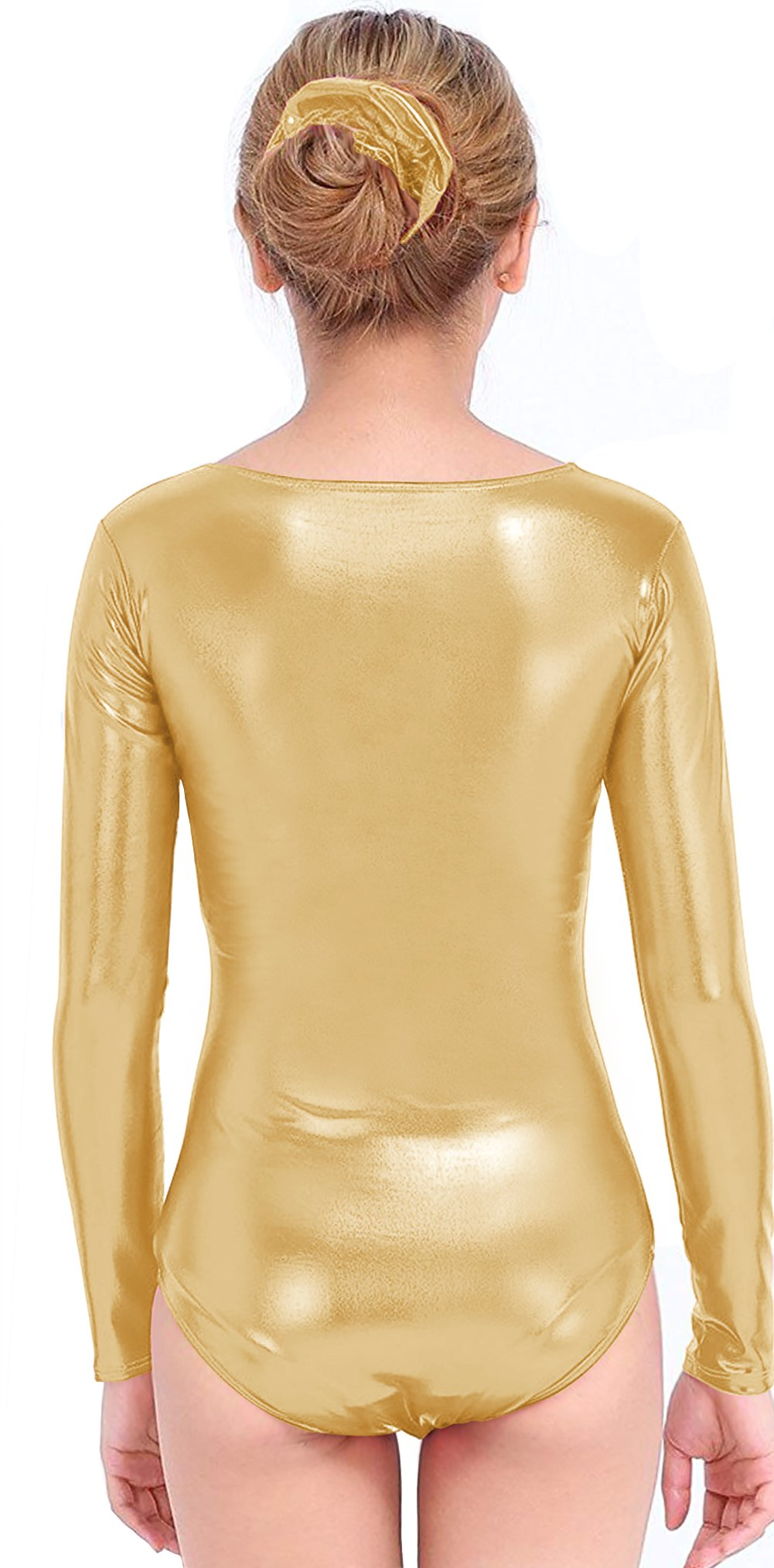 16066b752a5d4 Speerise Girls Kids Long Sleeve Shiny Metallic Dance Gymnastics Leotard,  Gold, 12-14