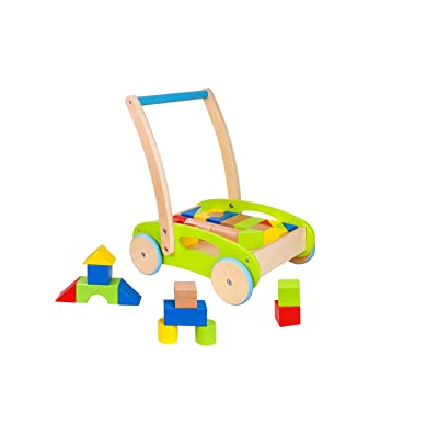 Toysters Wooden Baby Walker and Block Puzzle Push Cart | Wood Push and Pull Toy for Toddler Boys and Girls | Infant Activity Center Boosts Confidence When Your Child is Learning How to Walk : Baby