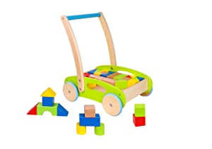 Toysters Wooden Baby Walker and Block Puzzle Push Cart | Wood Push and Pull Toy for Toddler Boys and Girls | Infant Activity Center Boosts Confidence When Your Child is Learning How to Walk