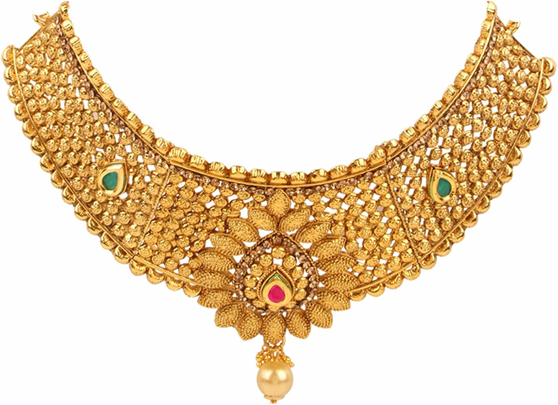 Efulgenz Indian Bollywood Traditional 14 K Gold Plated Kundan Pearl Wedding Choker Necklace Earrings Maangtikka Jewellery Set