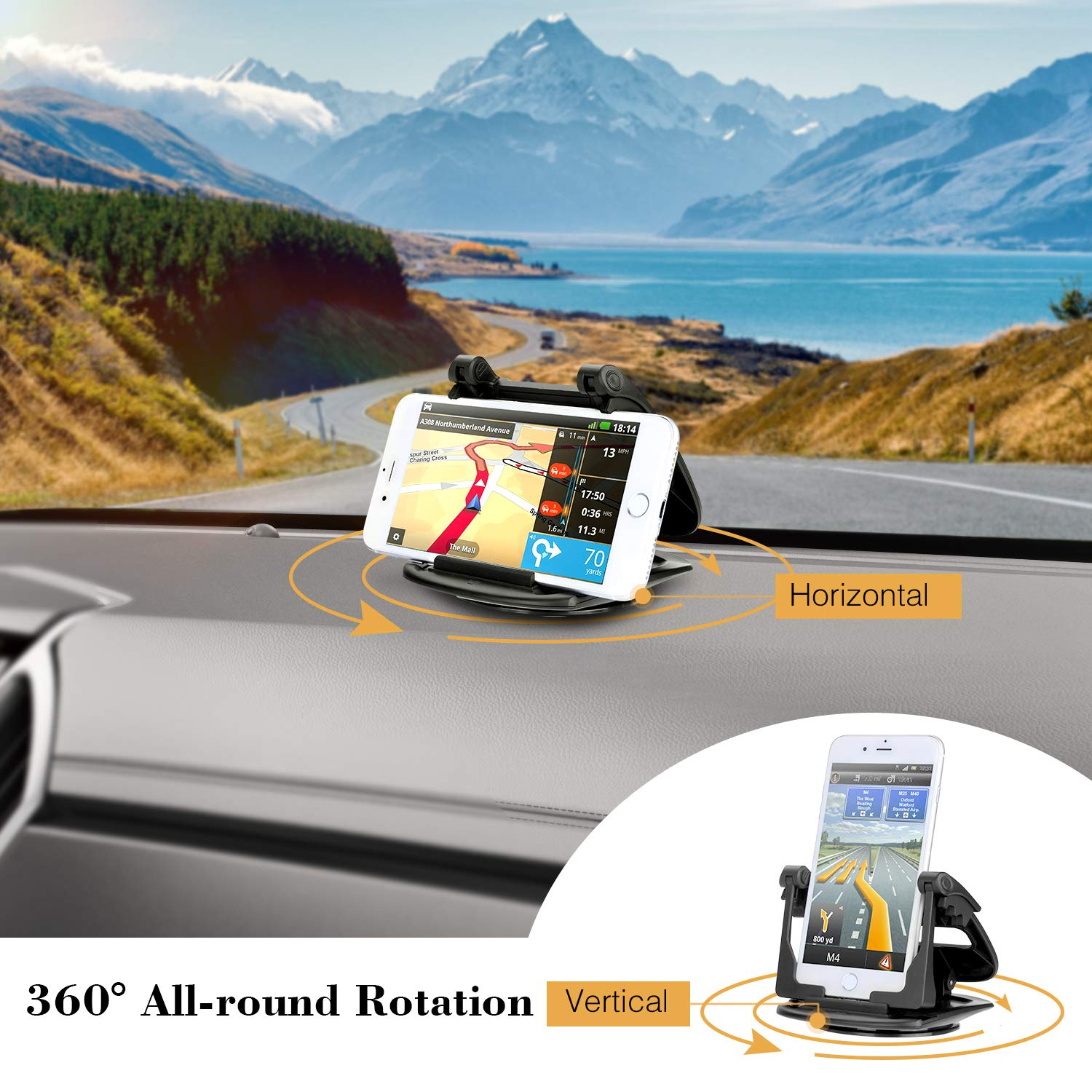 GPS Holder Cradle Dock Mounting in Pickup Truck Compatible Phone X 8 7 Plus Note 8 S9 S8 2018NGJZJ FITFORT Phone Car Mount Silicone Anti-Slip Dash Pad Mat Cell Phone Holder for Car Dashboard