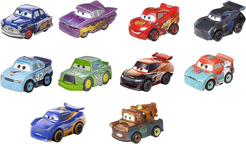 Disney Cars - Pack de 10 mini coches de carreras Juguetes niños +3 años (Mattel GKG24) , color/modelo surtido