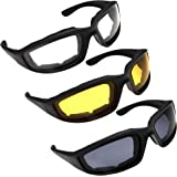 3 Pair Motorcycle Riding Glasses for Half Helmet 3 Pairs Clear Glasses