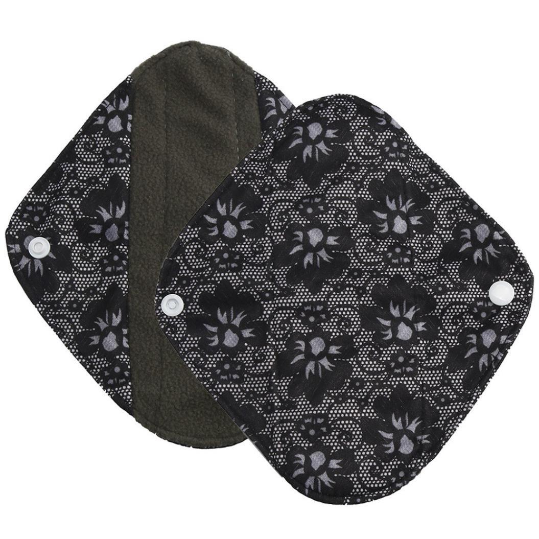 DEESEE(TM) Reusable Bamboo Cloth Washable Menstrual Pad Mama Sanitary Towel Pad Overnight Flow Pads (S(20×6.5cm), Black 2)