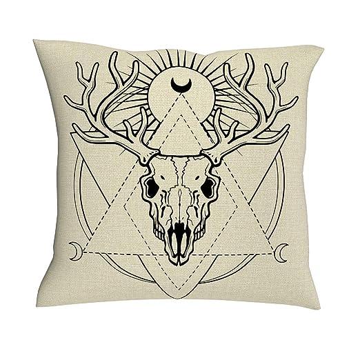 Funda de cojín con diseño de mandala étnico de ciervos y cuernos ...