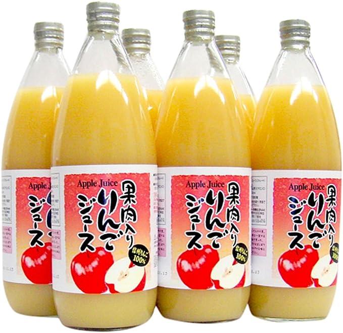 (ケース販売) 果肉入り りんごジュース1000ml×6本