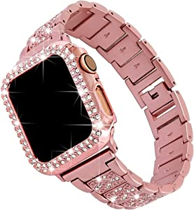 Falandi For Bling Rose Gold Apple Watch Band with Case 40mm iWatch Series 6 / SE / 5 / 4, Dressy Diamond Rhinestone Jewelry Metal Bracelet Adjustable Wristband, Pink
