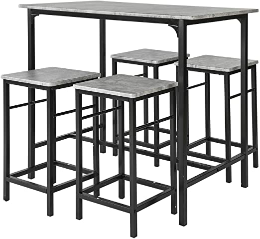 SoBuy Set Mesa Alta de Bar y 4 Taburetes OGT11-HG,ES (4 sillas ...