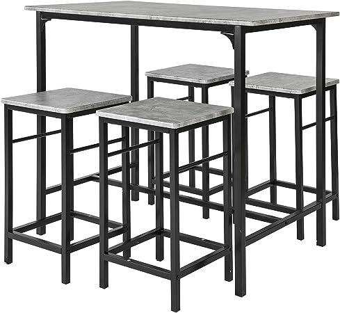 SoBuy Set 5 pezzi Tavolo con 4 sgabelli Mobile bar per casa stile industriale grigio, L100*P60*A87cm, OGT11 HG