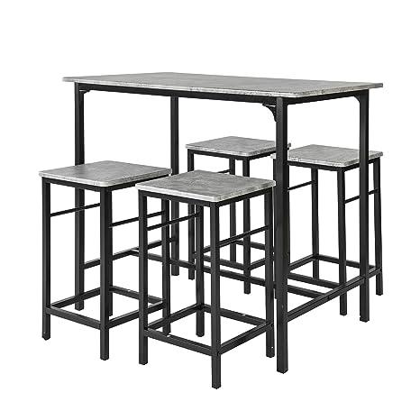 Bistrotisch Mit 4 Stühlen.Sobuy Ogt11 Hg Bartisch Set 5 Teilig Esstisch Stehtisch