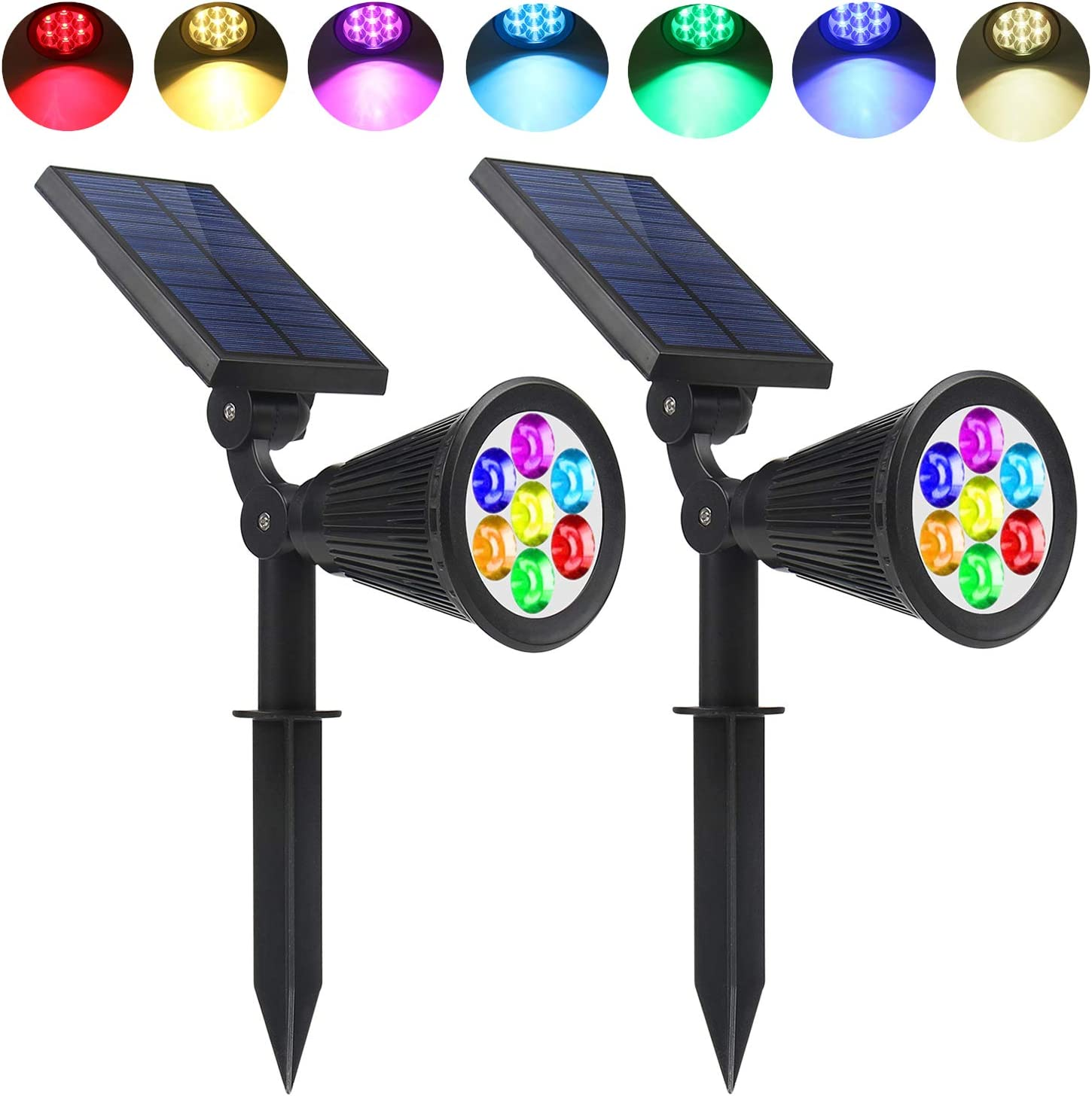 Lapeort Solar Lights Outdoor 2-in-1 Waterproof Solar Spotlights Colored 7 LED Adjustable Garden Wall Lighting Dusk to Dawn for Landscape Trees Yard Pathway Lawn Decor Auto On/Off (2-Pack): Home Improvement