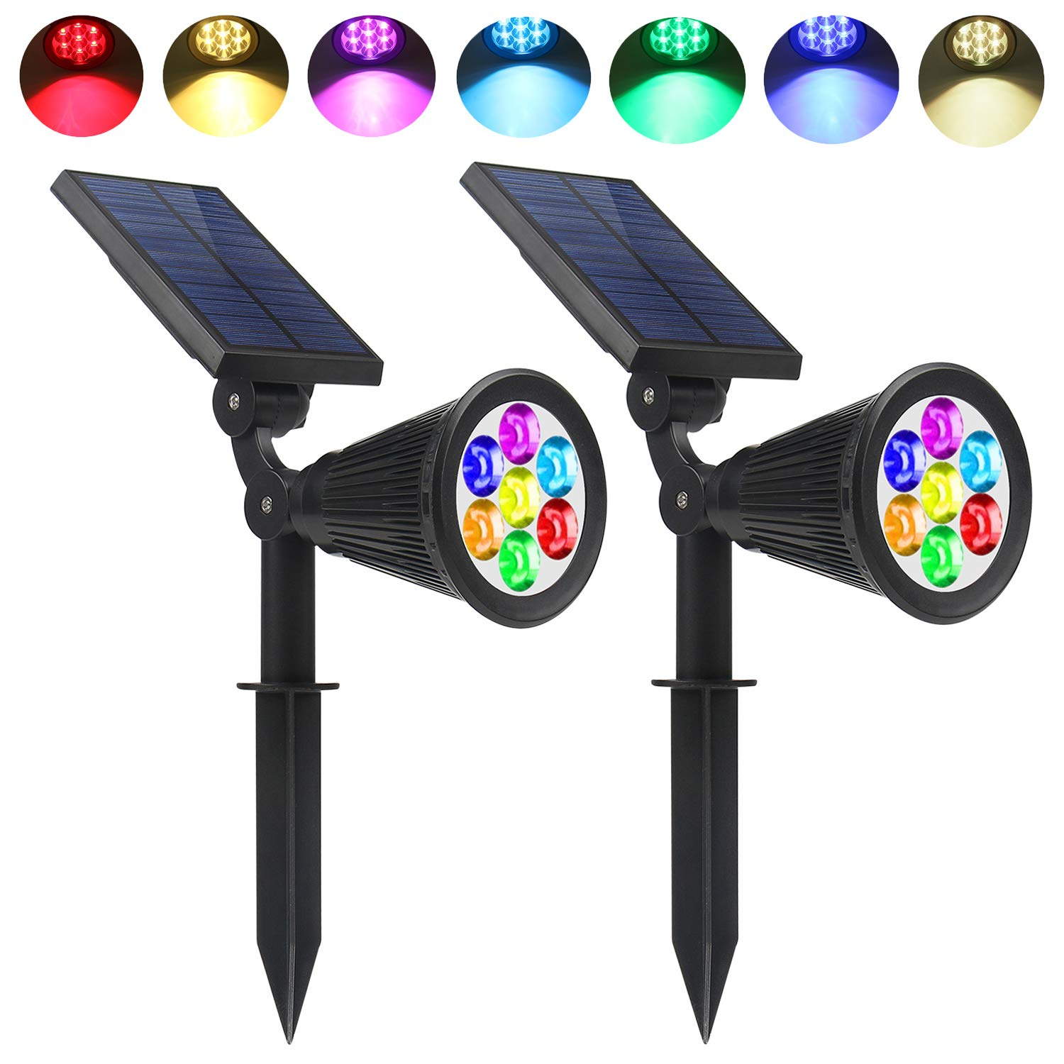 Solar Spotlights Outdoor 7 LED Solar Powered Garden Spot Lights Multi Color Waterproof Up Light Dusk to Dawn for Landscape Wall Trees Yard Pathway Lawn Decor Auto On/Off (2-Pack)