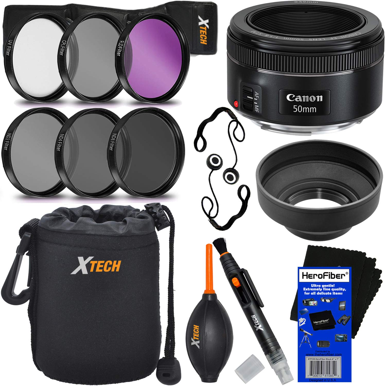 3 Piece Filter Kit Lens Hood Lens Dust Blower Lens Pouch Canon EF 50mm f//1.8 STM Lens Lens Cleaning Pen Lens Cap Keeper Bundle
