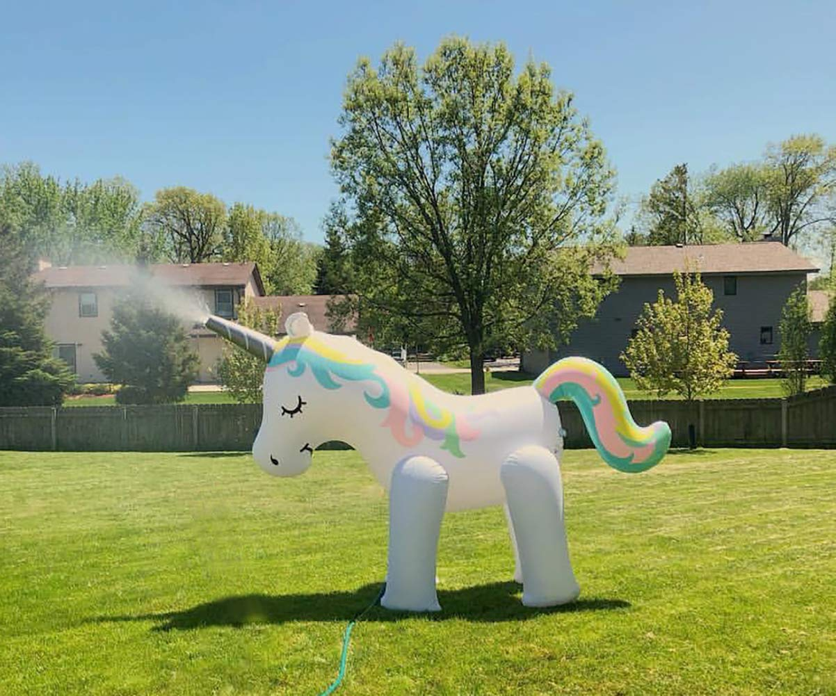 Kimi House Giant Inflatable Unicorn Sprinkler with Over 4.8 Feet Tall, 6.6Feet Long, Water Toys, Yard Summer Sprinkler… 8