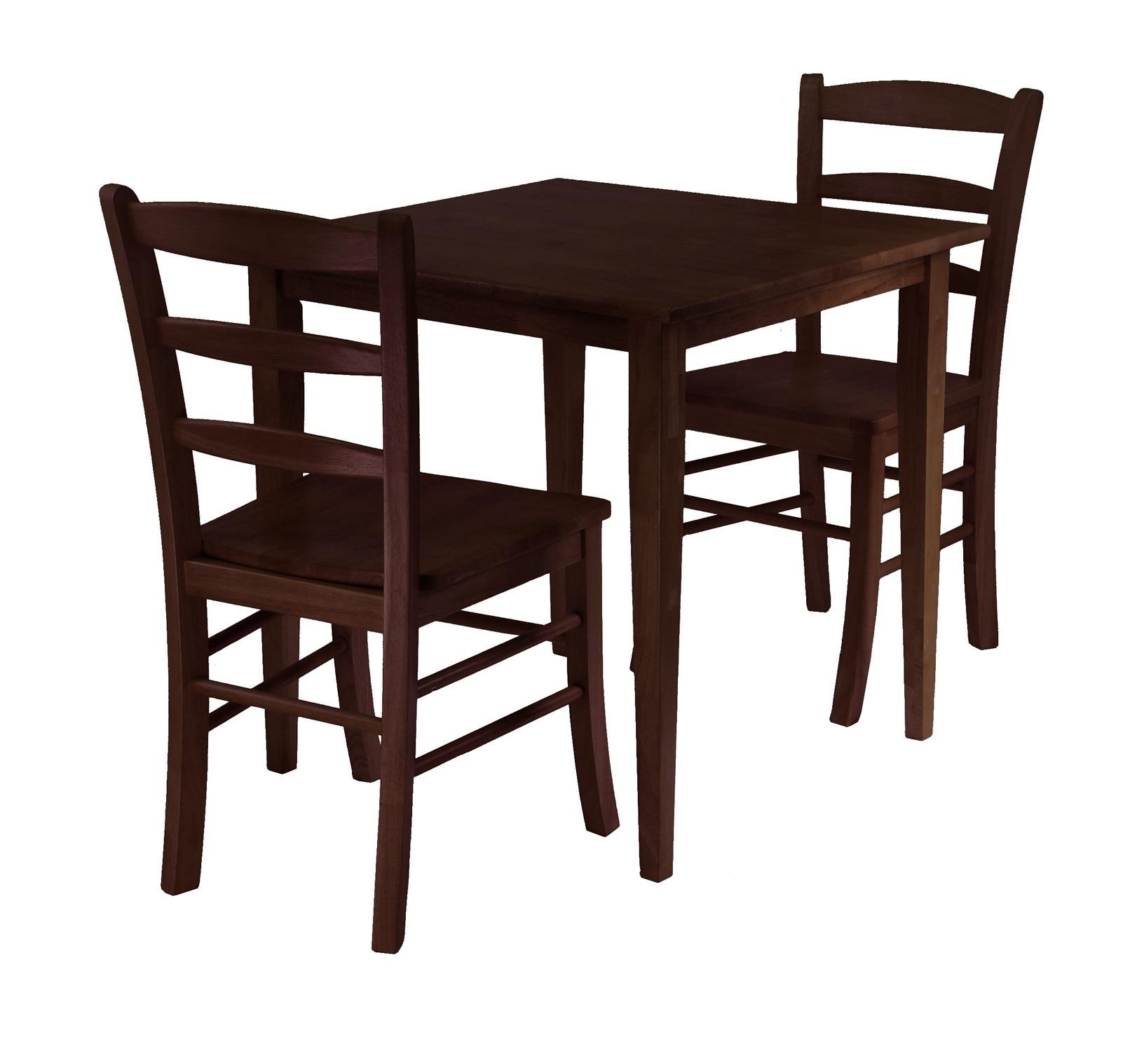 Winsome Wood Groveland 3pc Square Dining Table with 2 Chairs - Chairs Measure 16.6 x 20.5 x 34.7; Height 29.13; Color Brown; Finished Dark Wood Length 29.53 Width 29.53 - kitchen-dining-room-furniture, kitchen-dining-room, dining-sets - 71WlfzSk%2BAL -