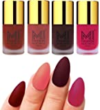 MI Fashion Matte Nail Polish Pack of 4(9.9 Ml Each)