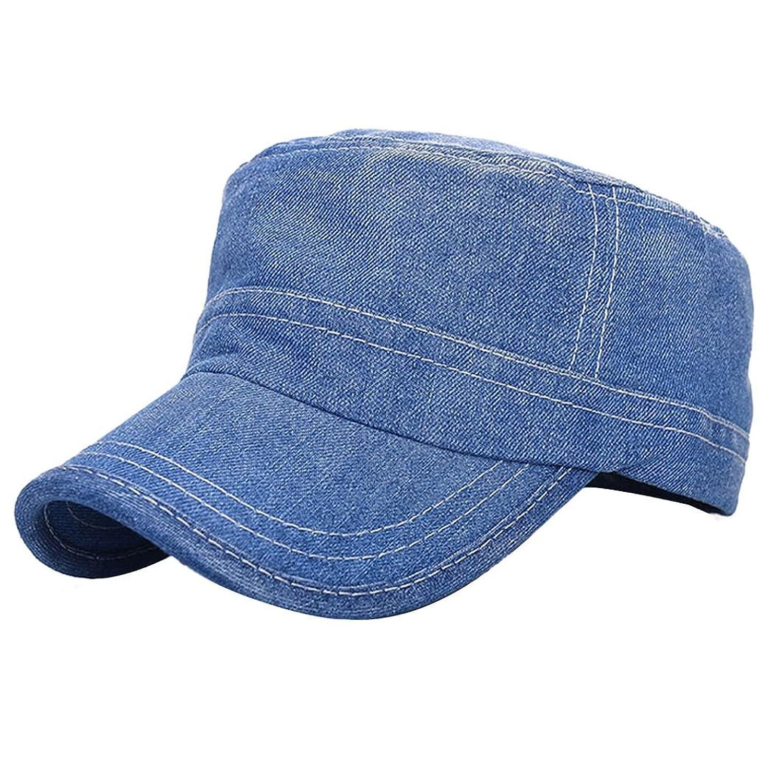 DZT1968(TM)Leisure Series Mens Womens Jean Denim Sun Hat Solid Flat Military Cap (A)