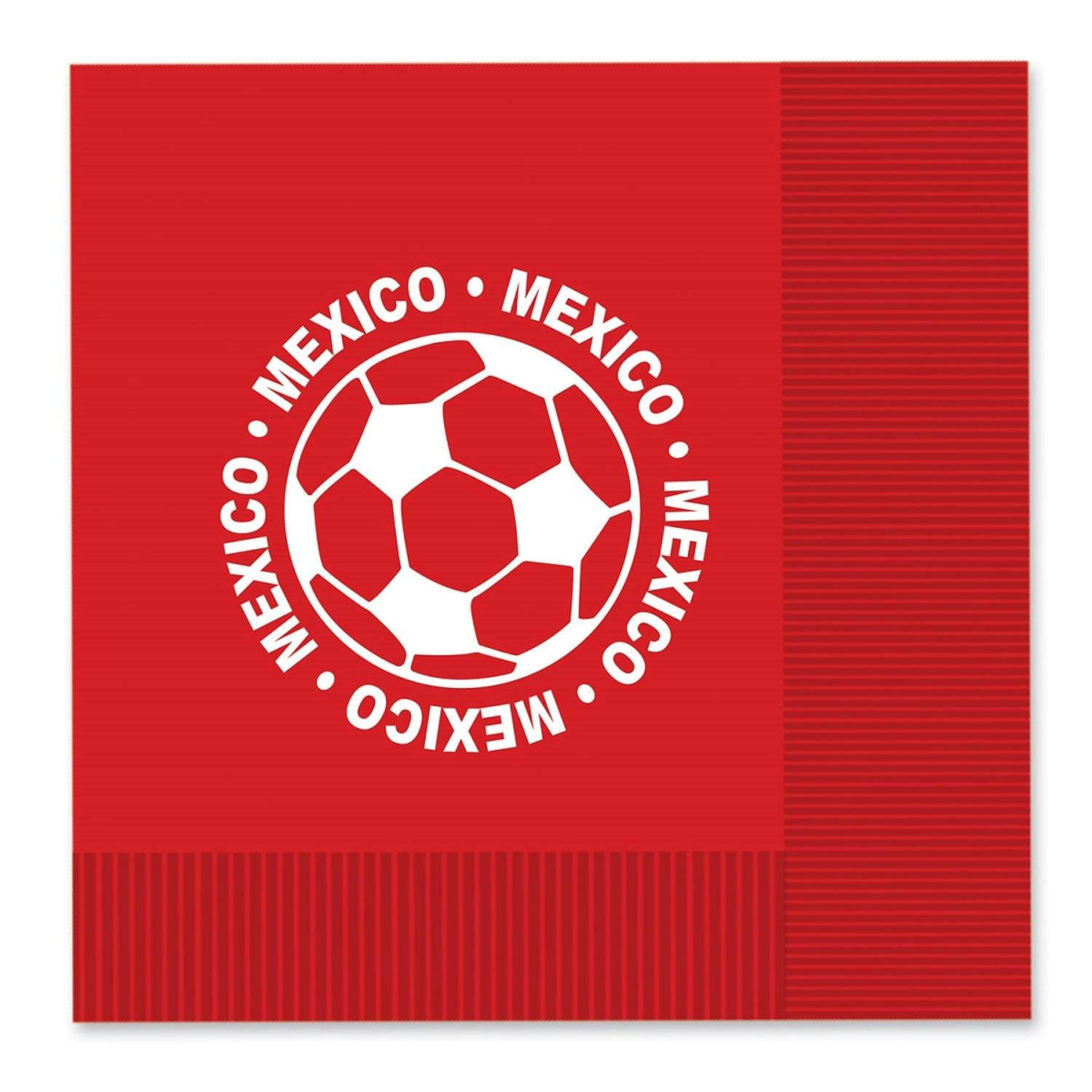 Club Pack of 192 Red and White 2-Ply ''Mexico'' Soccer Ball Paper Party Lunch Napkins 6.5''