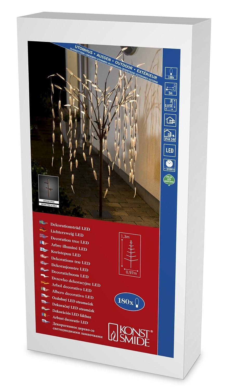 """Konstsmide 3375-600 LED Dekoration""""Trauerweide mit transparenten Blättern, 1,30m""""   für Außen (IP44)   24V Außentrafo   180 warm weiße Dioden braunes Kabel"""