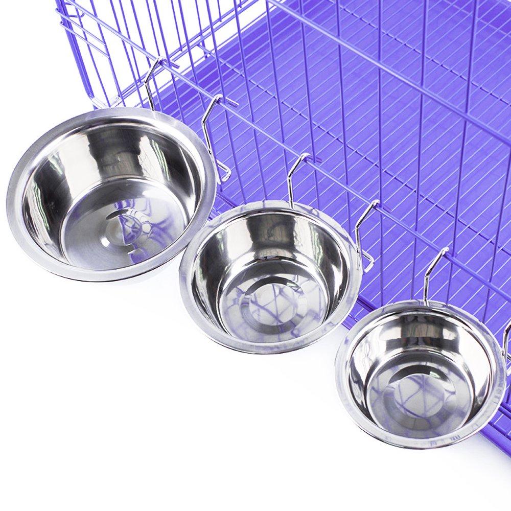 da appendere Jycra Pet ciotola in acciaio INOX cibo acqua ciotola con gancio per Pet cane gatto e coniglio uccello gabbia